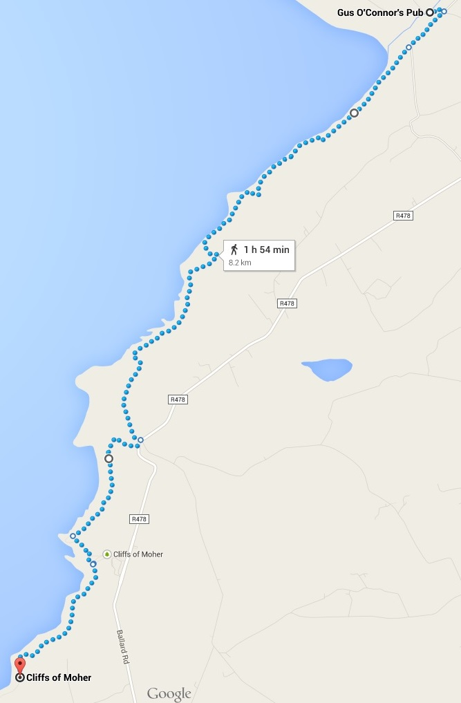Doolin Cliff Walk Route
